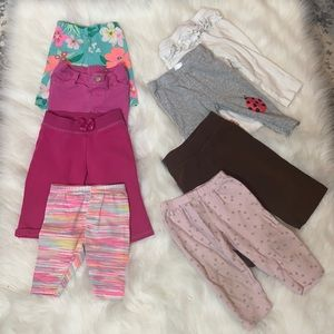 2/$25 Baby Girl 6-9M Pant & Shorts Lot. 12 Pieces